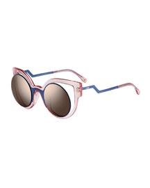 Open-Inset Round Cat-Eye Sunglasses