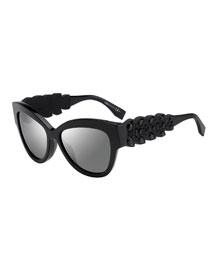Rhinestone-Trim Cat-Eye Sunglasses
