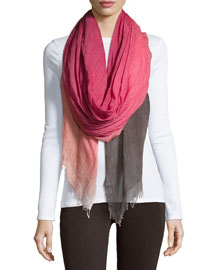 Tea Ombre Wool-Blend Scarf, Berry