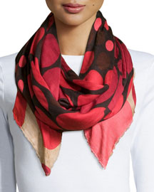Bubble-Print Scarf, Red