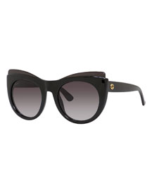 Raised-Brow Cat-Eye Sunglasses, Black