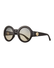 Embossed Gradient Round Sunglasses, Black