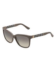 Cora Leopard-Print Square Sunglasses