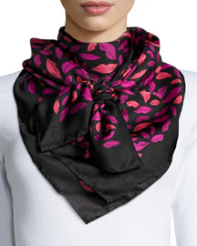 Silk Square Midnight Kiss Scarf, Orchid/Beet