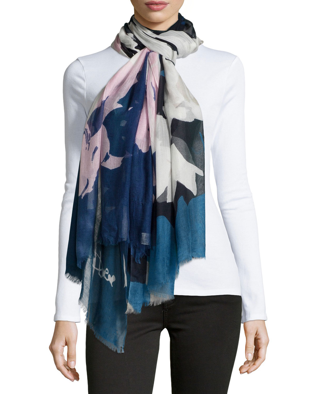 Diane von Furstenberg Grace Floral Scarf, Blue, Blue Floral