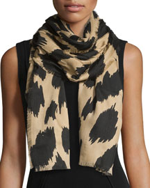 Animal Jacquard Cashmere Scarf, Camel/Black