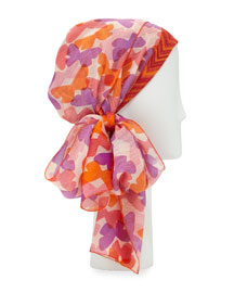 Butterfly-Print Voile Head Scarf, Pink