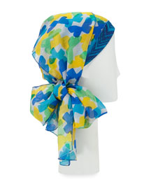Butterfly-Print Voile Head Scarf, Blue