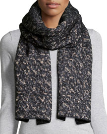Scarlett Melange-Knit Scarf, Black/White