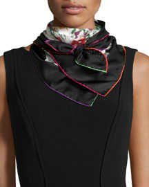 Floral Field Silk Scarf, Black/White
