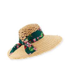Large-Brim Sun Hat w/ Floral Tie