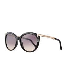 Rhinestone Cat-Eye Sunglasses