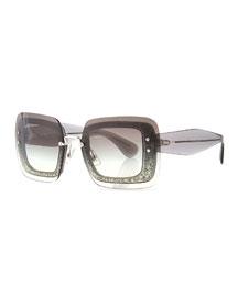 Glittered Square Sunglasses w/ Overlay Lenses