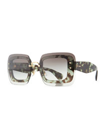 Oversize Square Sunglasses w/ Overlay Lenses