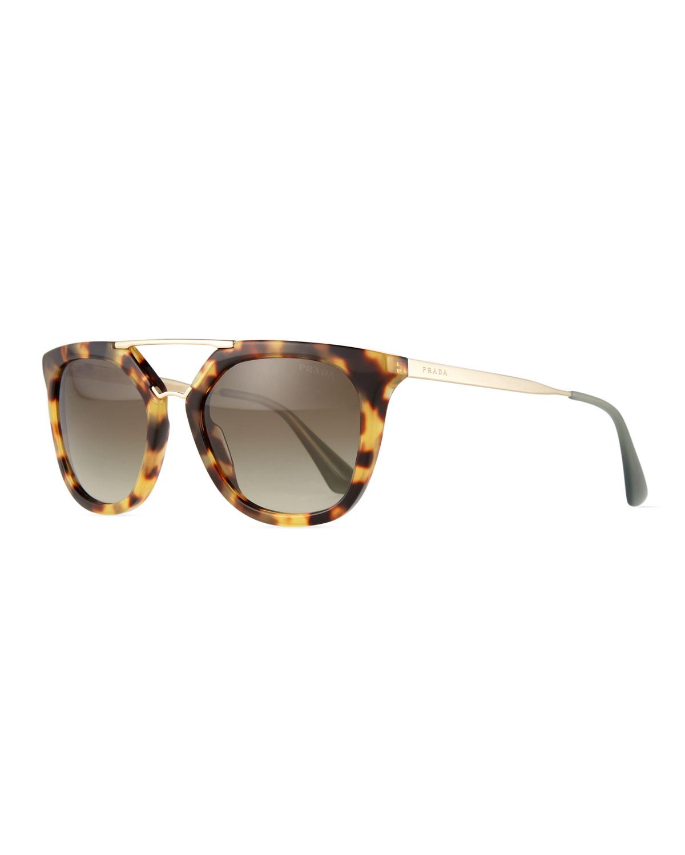 Prada Square Brow-Bar Sunglasses, Beige Tortoise