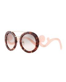 Baroque Round Brow-Bar Sunglasses