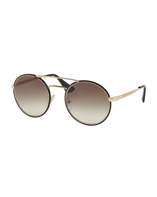 Prada Round Brow-Bar Sunglasses, Black