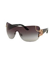 Floral-Trim Shield Sunglasses