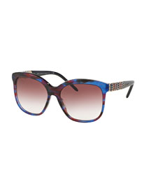 Square Rhinestone-Trim Gradient Sunglasses, Red/Blue