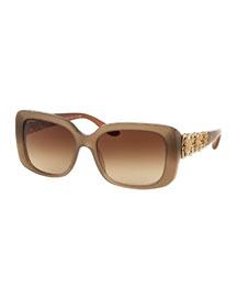 Floral-Rhinestone Square Gradient Sunglasses