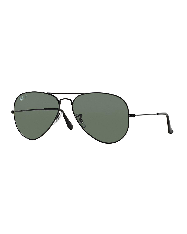 Ray-Ban Metal Polarized Aviator Sunglasses, Black, Size: 62MM
