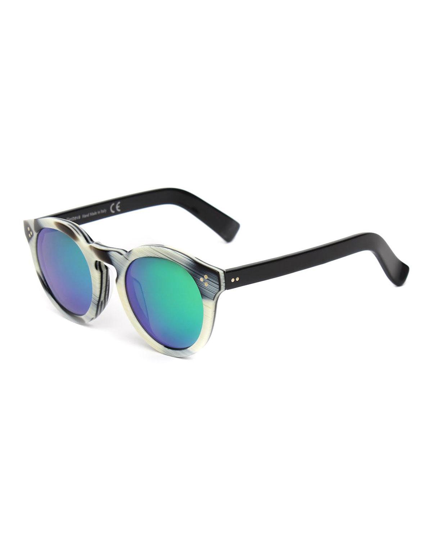 Illesteva Leonard II Round Sunglasses, Horn/Black/Green, Horn/Black Green
