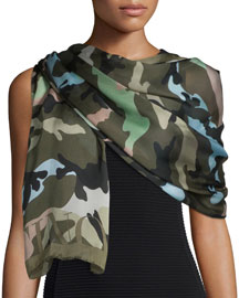 Silk Voile Camo Scarf, Green Tea/Multicolor