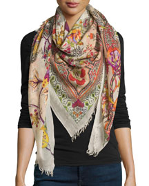 Animal Print Cashmere Scarf, Multi Colors
