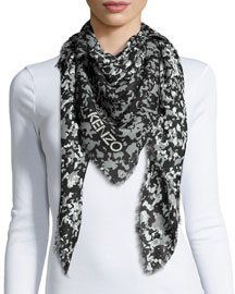 Faded Sand Camo-Print Square Scarf, Gray