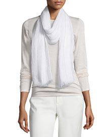 Metallic-Stripe Linen Scarf, White