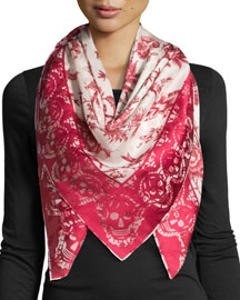 Square Floral Silk Scarf, Magenta/Ivory
