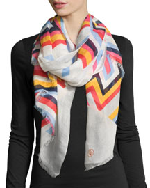 Striped Cotton-Silk Scarf w/ T Logo, Ivory/Navy