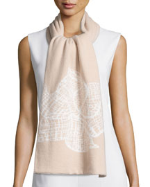 Floral Cashmere Scarf, Cipria/Ivory