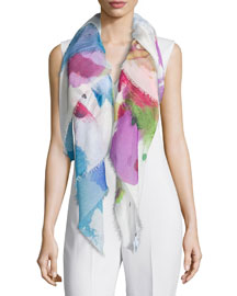 Silk & Wool Square Splatter Scarf, Multicolor