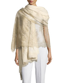 Chantilly Lace Cashmere-Blend Shawl, Cream/Gold