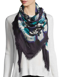 Square Floral Tie-Dye Scarf, Dark Purple