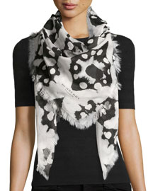 Square Tie-Dye Scarf, Black/White