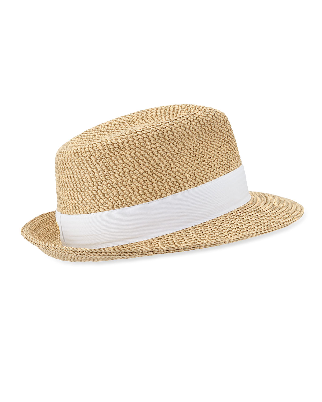 Eric Javits Squishee Classic Woven Fedora Hat, Ivory/Black