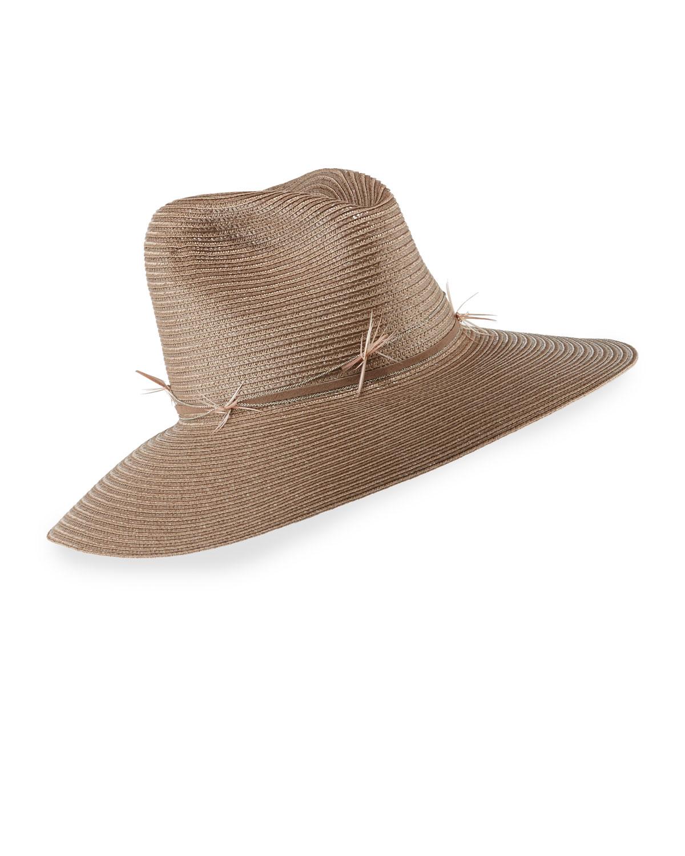 Gigi Burris Drake Straw Fedora Hat, Size: M-22.5, Petal