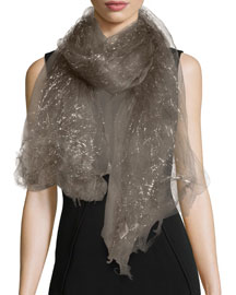 Dionix Metallic Silk-Blend Scarf, Charcoal