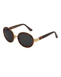 Santa Classic Round Monochromatic Sunglasses, Havana