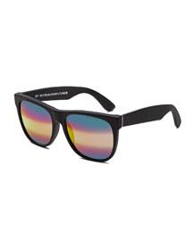 Classic M3 Iridescent Square Sunglasses, Black