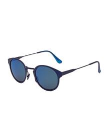 Panama Synthesis Round Sunglasses, Dark Blue
