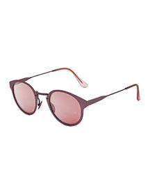 Panama Synthesis Round Sunglasses, Pink