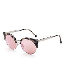 Ilaria Gel Mirrored Sunglasses, Cream Havana