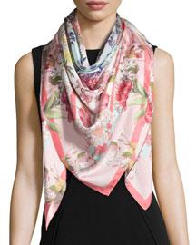 Daphne Floral Silk Scarf, Pink
