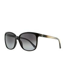 Plastic Square Sunglasses, Black