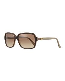 Gradient Square Sunglasses, Havana