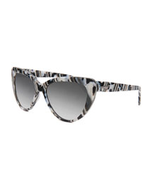 Capri Printed Cat-Eye Sunglasses, Black/White