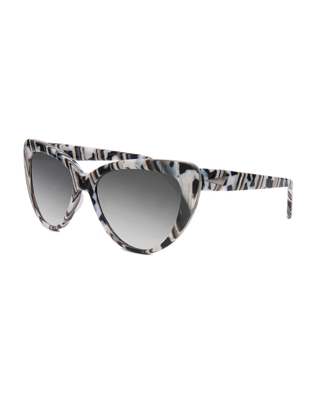 Prism Capri Printed Cat-Eye Sunglasses, Black/White
